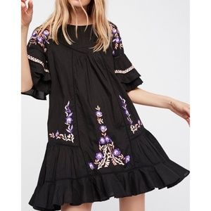 NWOT Free People Pavlo Ruffle Embroidered Dress